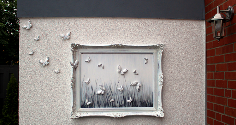 Shabby Chic Wandbild mit Schmetterlingen