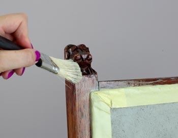 Shabby Chic Stuhl Frederic Test Stoff mit Kreidefarbe anmalen 9