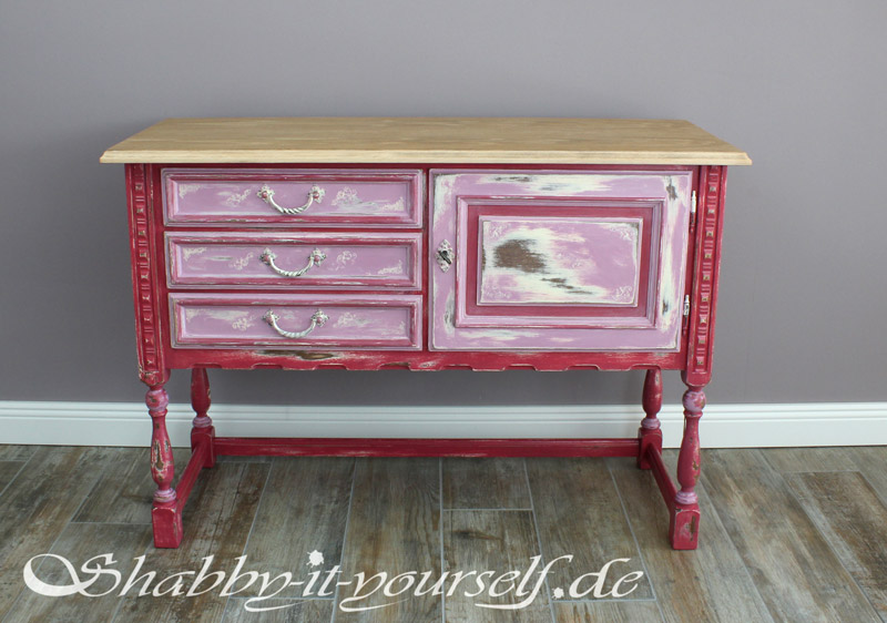 sideboard amy abgewetzte vintage sch nheit in rosa rot. Black Bedroom Furniture Sets. Home Design Ideas