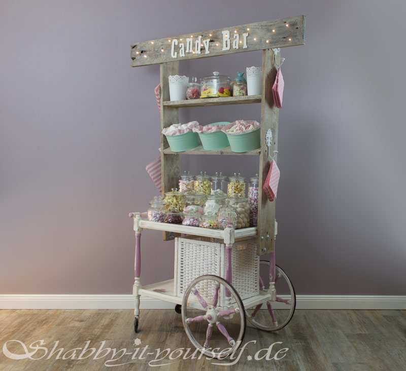 vintage wedding candy bar perfekt f r eure shabby chic hochzeit. Black Bedroom Furniture Sets. Home Design Ideas