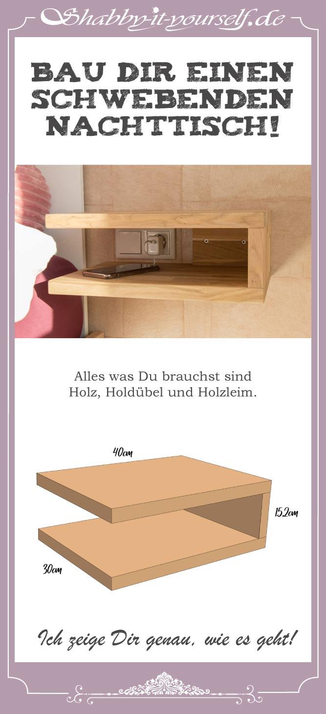 DIY schwebenden Nachttisch selber bauen Pin