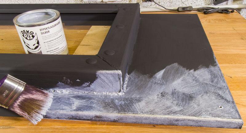 Industrial Style Lampe bauen Deckenlampe - DekoFux Effektlasur Silber