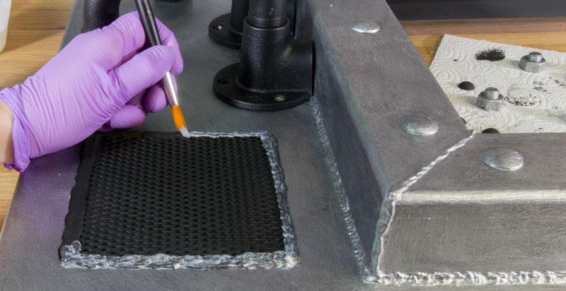 Industrial Style Lampe bauen Deckenlampe - Effektlasur auf Schweissnaht