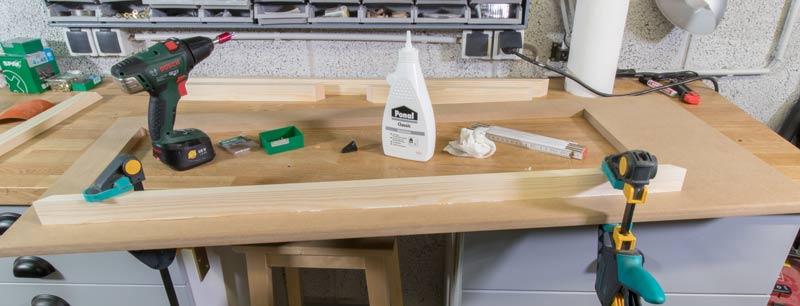 Industrial Style Lampe bauen Deckenlampe - Holz leimen