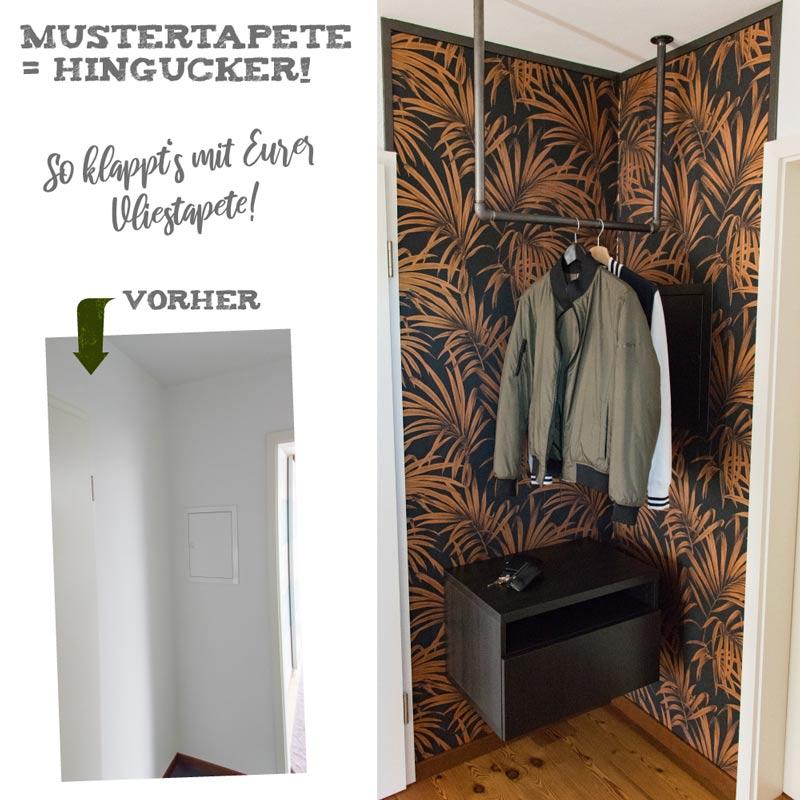 Garderobe im Flur gestalten mit Tapete - So klappt es