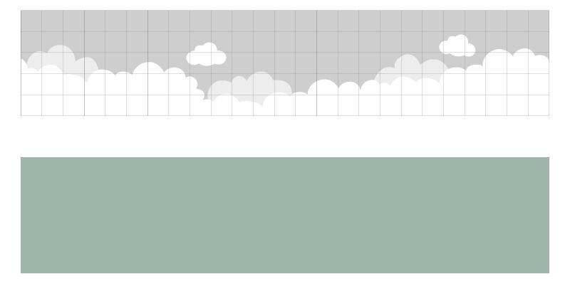 Kinderzimmer Wandbild streichen - Vorlage Wolkenhimmel mit Raster