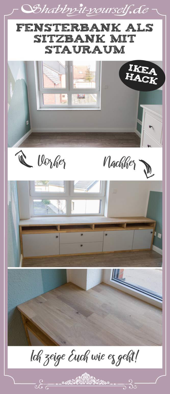 Fensterbank als Sitzbank mit Stauraum gestalten IKEA Hack - PIN