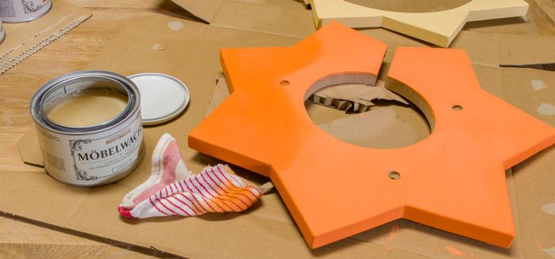 Kinderzimmer Lampe selber bauen - Kreidefarbe mit Wachs versiegeln