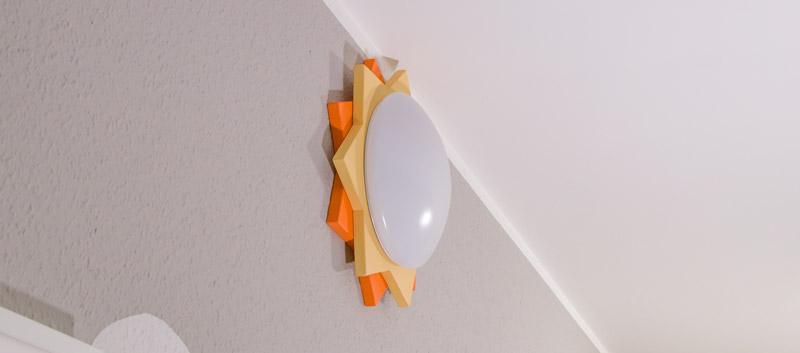 Kinderzimmer Lampe selber bauen - So sieht die Lampe von der Seite aus