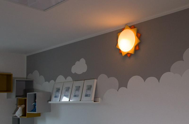 Kinderzimmer Lampe selber bauen - Die neue Lampe ist an der Wand