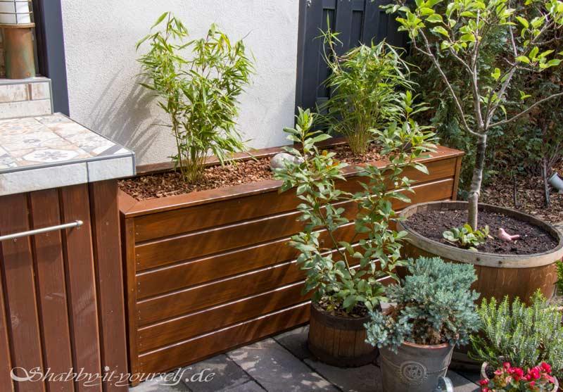 Anleitung Hochbeet Pflanzkuebel selber bauen - Der Bambus soll Sichtschutz bieten