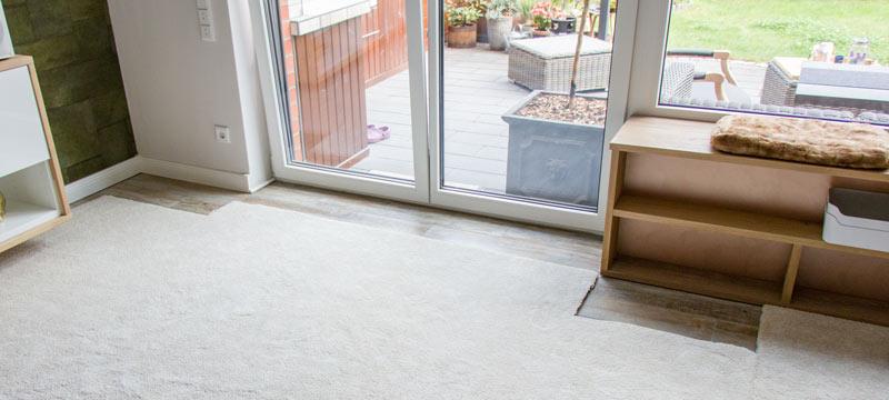 IKEA Teppich STOENSE zusammenlegen - Angepasst an die Terrassentür