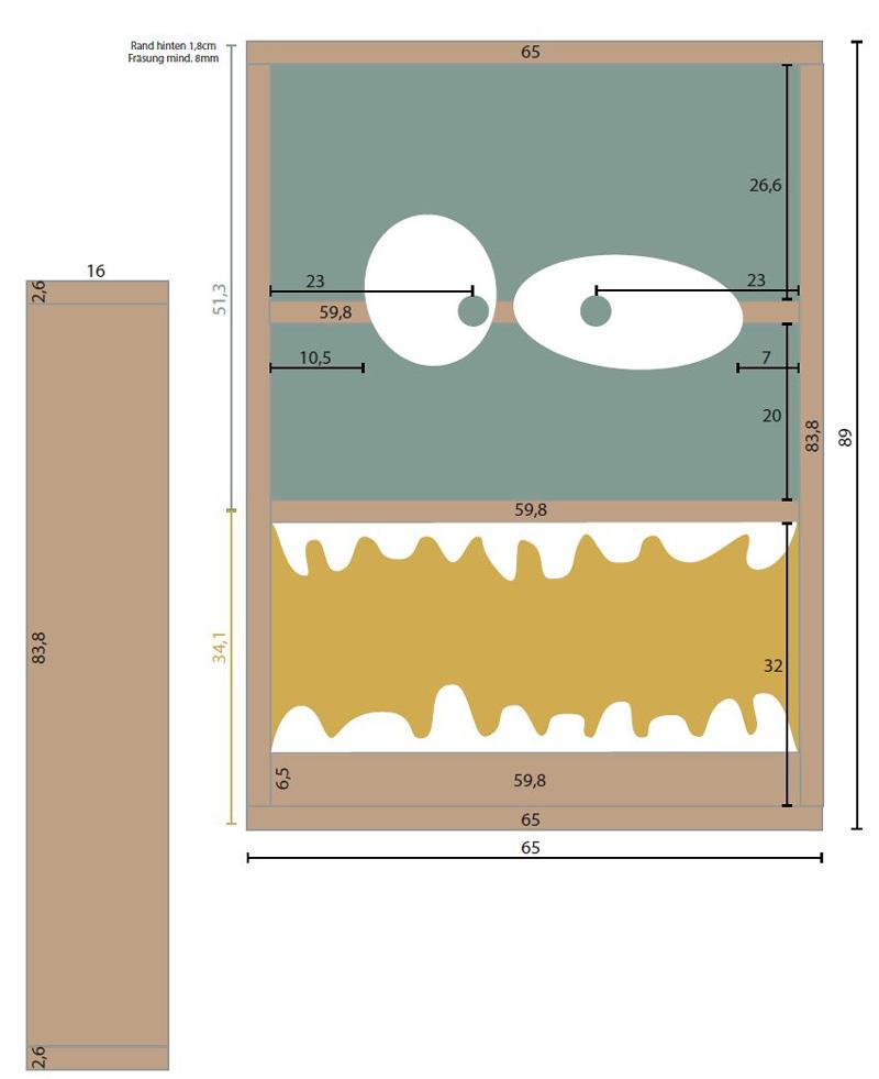 Monster Bücherregal für Kinder - Bauplan
