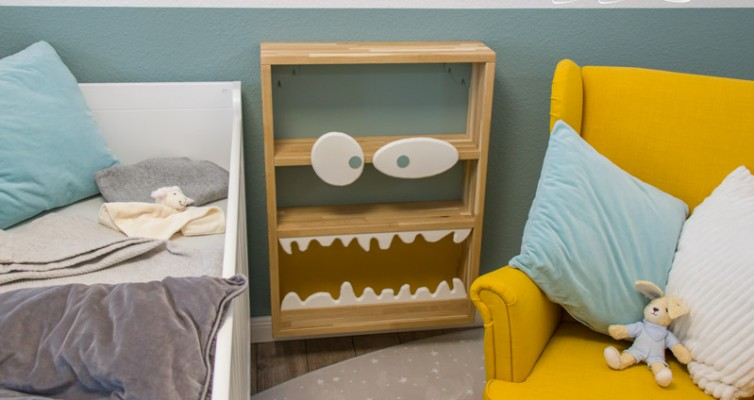 Monster Bücherregal für Kinder - So sieht es fertig aus