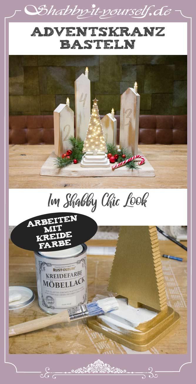DIY Adventskranz aus Holz - PIN