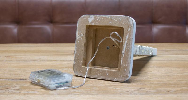 DIY Adventskranz aus Holz - Lichterkette anbringen