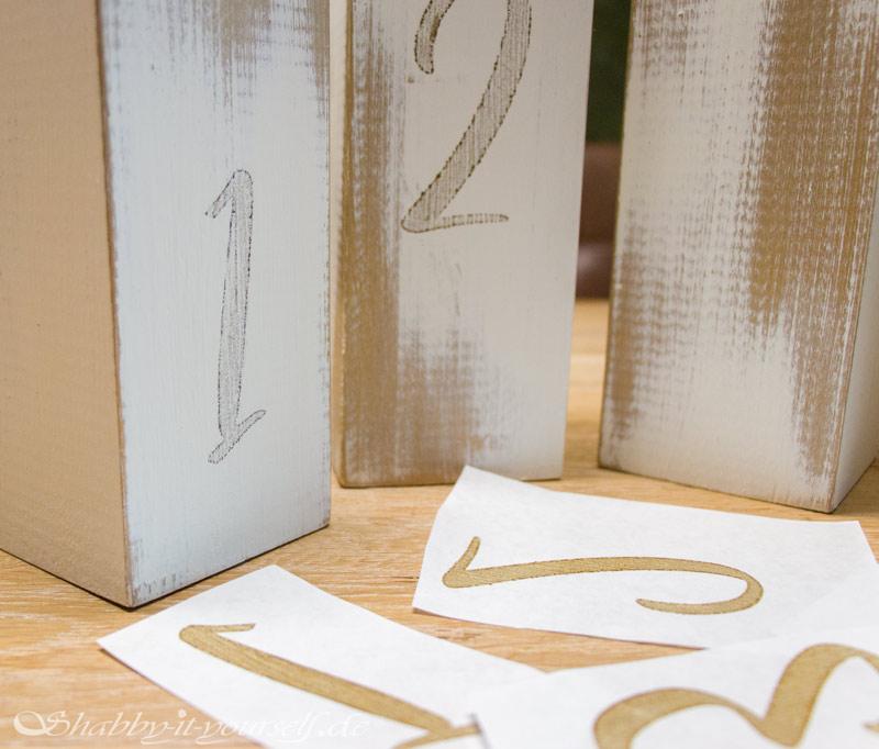 DIY Adventskranz aus Holz - Drucktransfer mit Freezer Paper