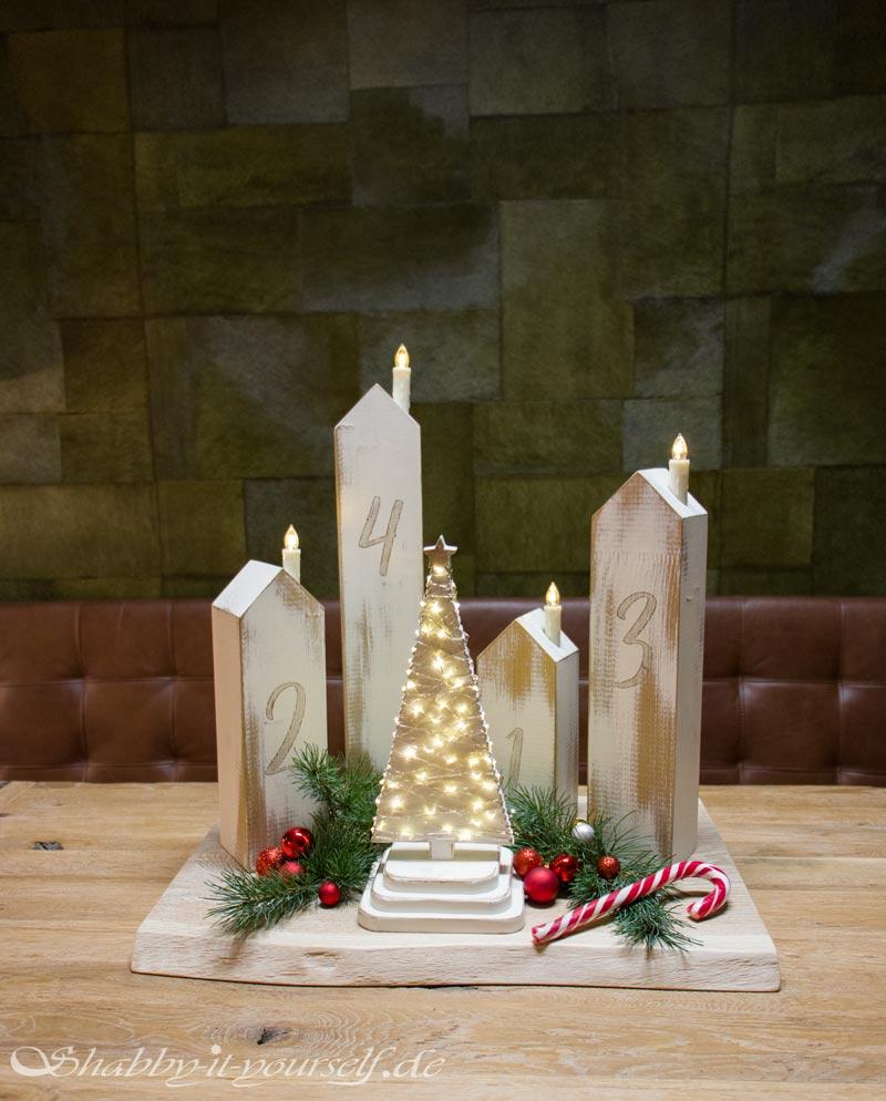 DIY Adventskranz aus Holz - Fertig mit Deko