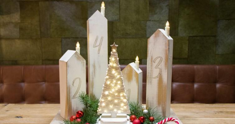 DIY Adventskranz aus Holz - Shabby Chic Weihnachtsdeko