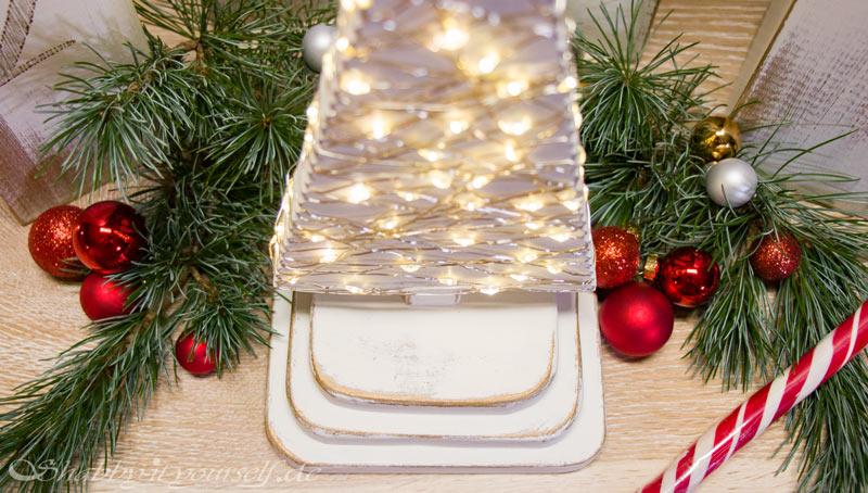DIY Adventskranz aus Holz - Goldene Shabby Chic Akzente