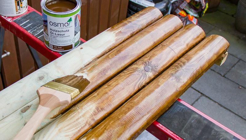 Sandkasten aus Holz Infos - Holz mit Oel-Lasur streichen