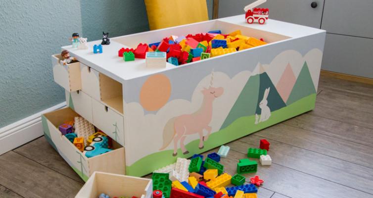 Spielzeugkiste Sitztruhe Lego Duplo DIY bauen - Truhe mit Legosteinen